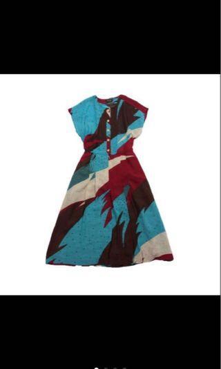 幾何炫彩色塊 古著洋裝