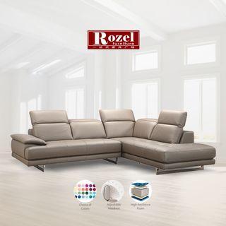 Giovanni Half Leather L-Shape Sofa