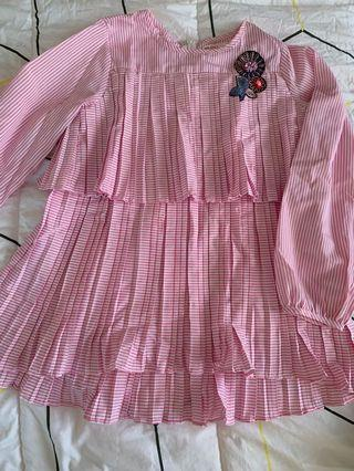 Pink Pleated Tiered Blouse JKids size 9/10y