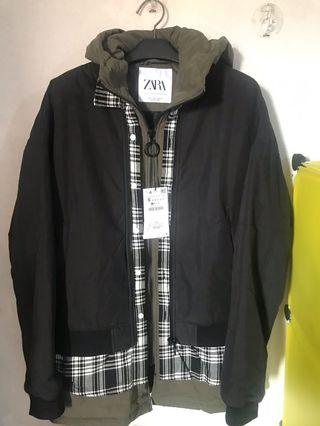 Zara three layered effect bomber jacket