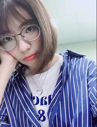 藍色條紋長版襯衫(H:Connect)