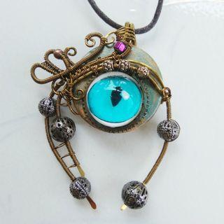 Blue Eye Monster Robot Pendant Wire Wrap Unique Artisan Unisex Jewelry Necklace