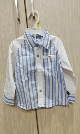 Kemeja Anak white less baby blue fit to 2-3years