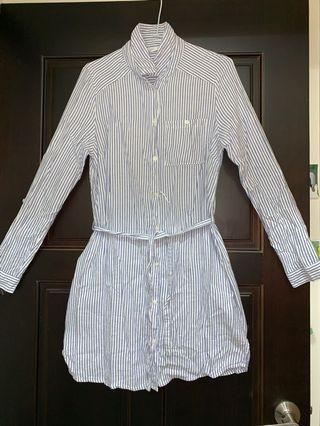 Net直條紋顯瘦綁帶洋裝