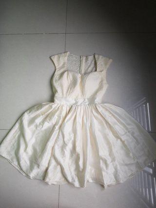 Premium Mini Flare Bustier Korean Dress Satin Nude