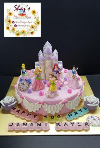 Princess With Castle Theme Agar Agar Birthday Cake