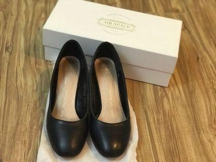 Air Space 黑色 粗根 高跟鞋 面試鞋