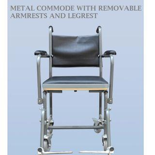 COMMODE WHEELCHAIR - PAINTED METAL, DETACHABLE ARM RESTS AND LEG RESTS