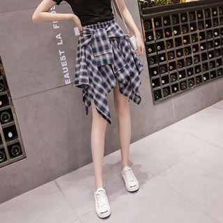 不規則格子半身褲裙