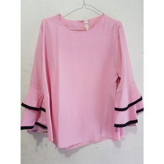 Pink blouse top atasan wanita lengan terompet open barter