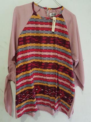Batik premium tenun katun ima lengan 3/4 new open barter