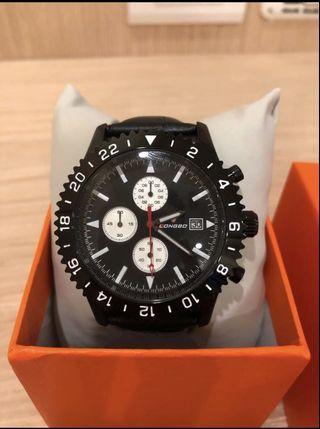 全新 LONGBO皮帶手錶