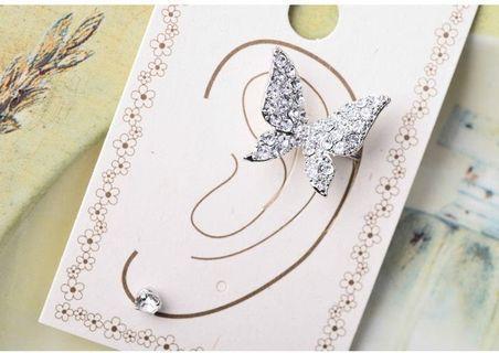 耳骨夾、耳針式耳環組-蝴蝶(單邊)