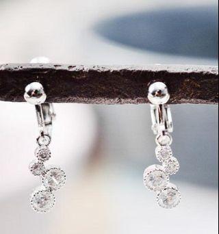 耳夾耳環-水鑽墜飾(一對)