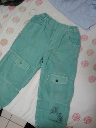 女童湖水綠毛呢鬆緊長褲