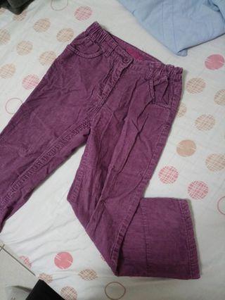 女童燈芯絨鬆緊紫色長褲