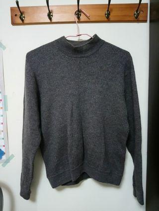 材質一百分鐵灰微高領毛衣