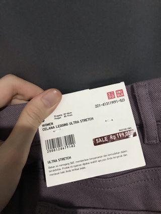 Uniqlo leggings ultra stretch semi jeans ungu purple burgundy celana uniqlo
