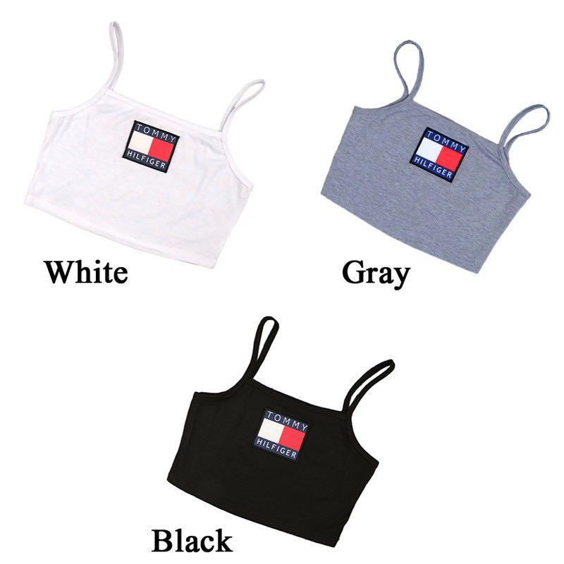 #359 tommy hilfiger halter square neck top grey/black/white crop camisole cami spag strap spaghetti