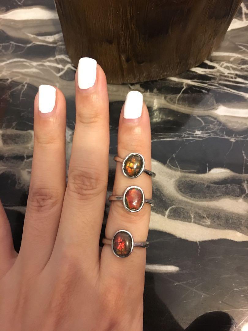 Ammolite ring 斑彩石戒指