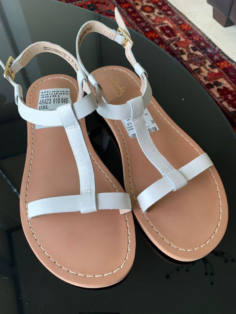 Clarks white sandals, Women's Fashion