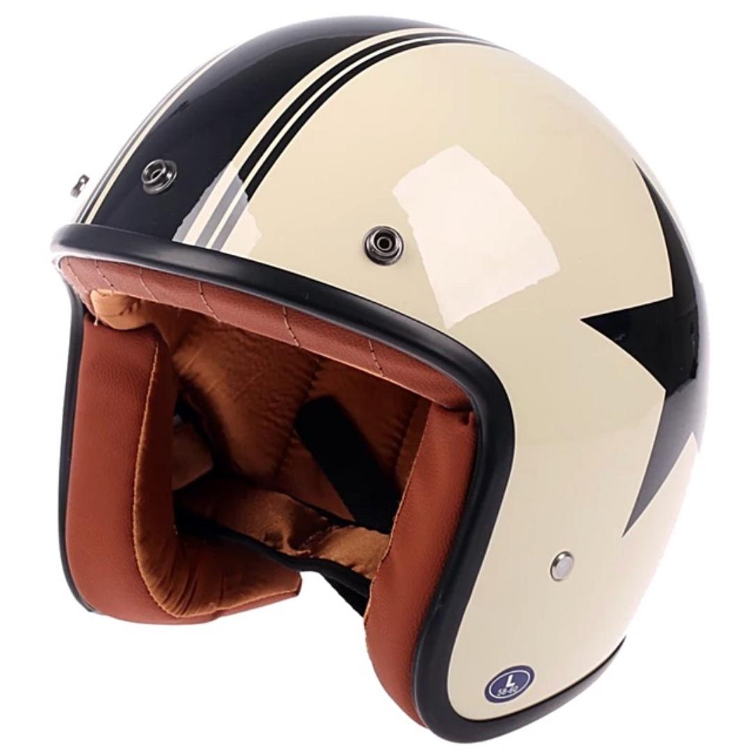 Cream Off White with Black Star and Stripe Motorcycle Helmet Open Face Three Button Snap Retro Vintage Vespa Scooter Cafe Racer Motorbike Leather Gloss Old School