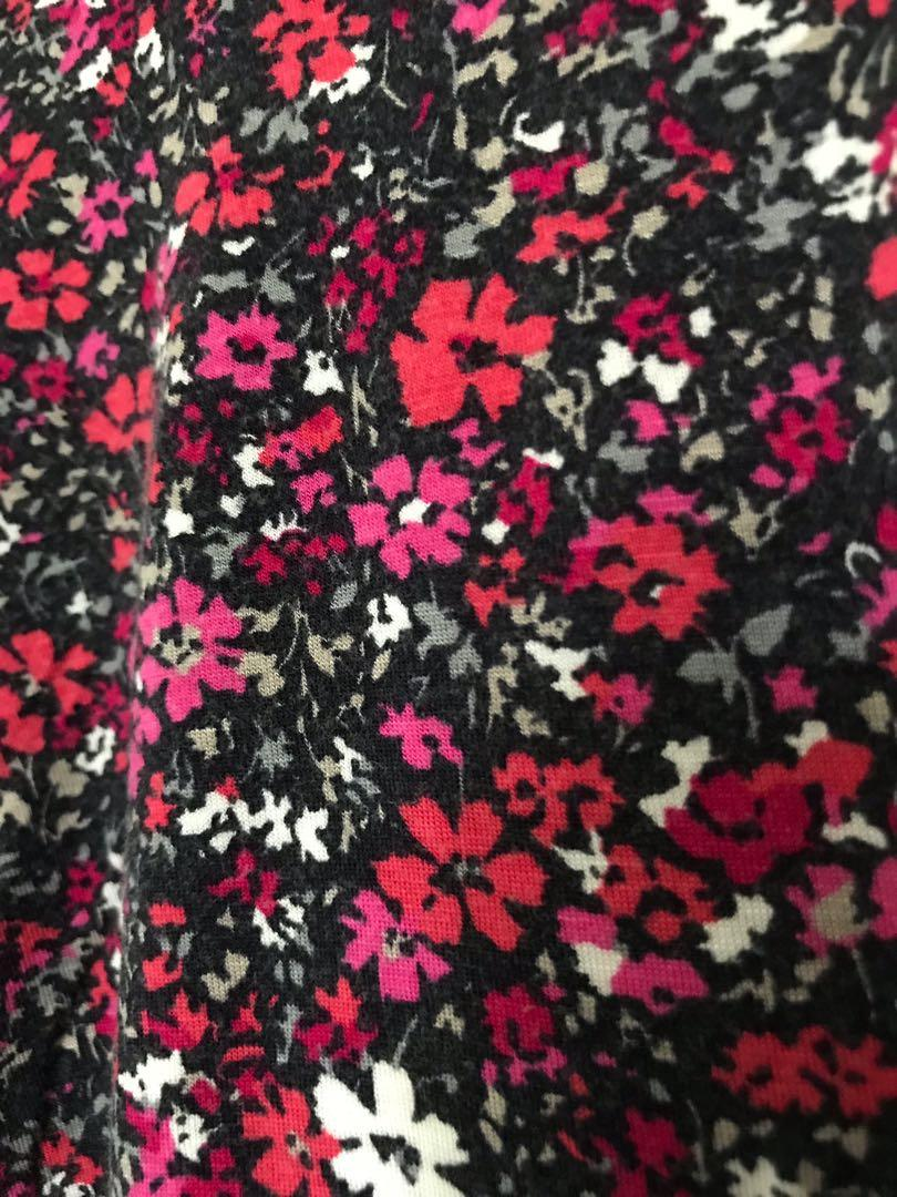 Deep Pink Flower Printed Low-Back Long-sleeve Shirt