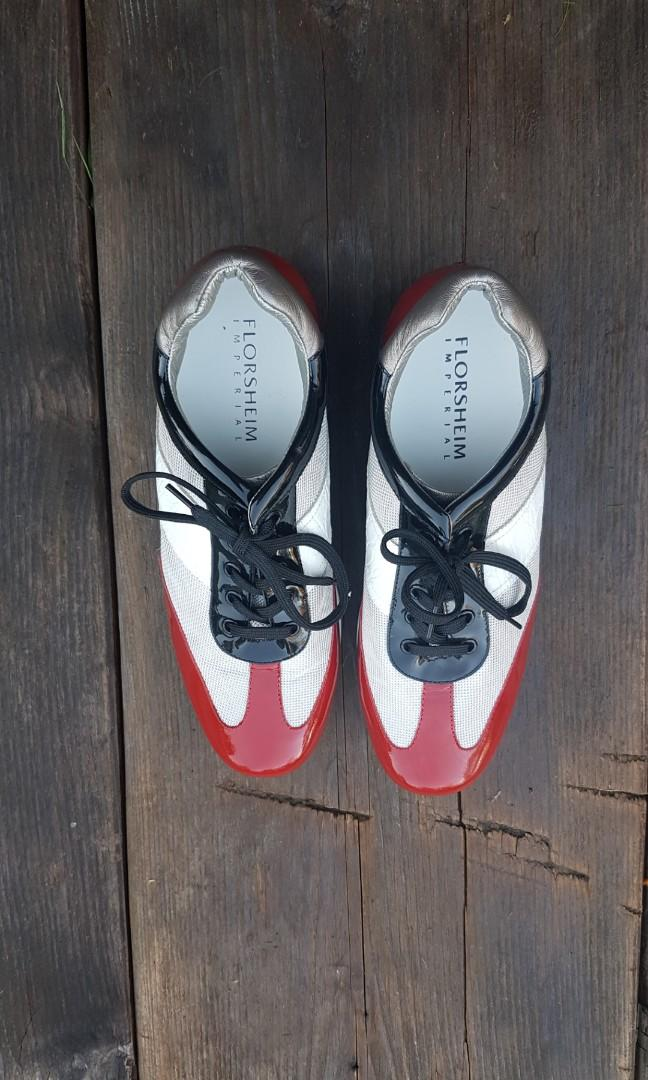 Florsheim Leather Sneakers - Size 41 (9 womens) Red White & Black