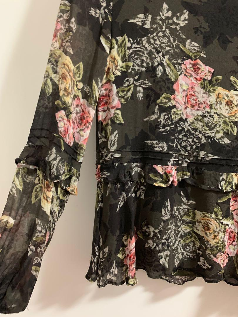 Forever new long sleeve floral blouse shirt for work or casual