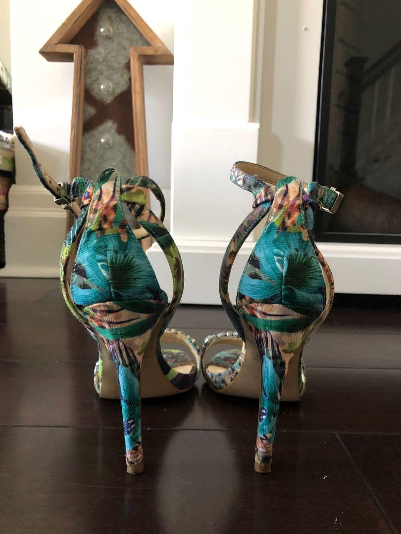 Guess Tropical Floral Bejewelled Heeled Strappy Sandals
