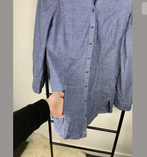 Kathmandu 8 Enact Organic cotton blue chambray denim top shirt casual outdoor