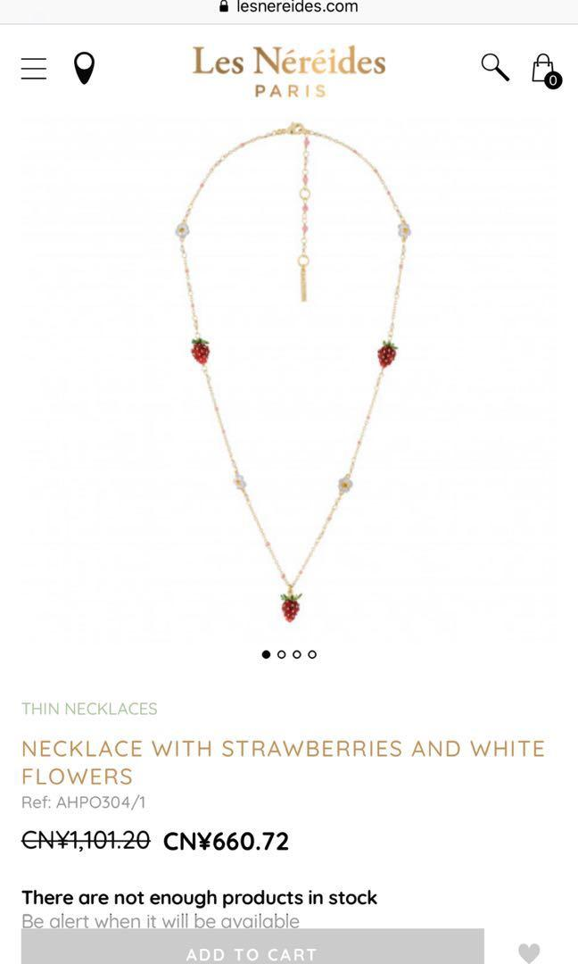 Les nereides strawberry necklace length adjustable