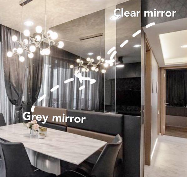 Wall Mirror tinted clear dining bathroom  Bto hdb condo