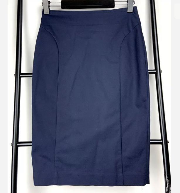 SABA 4 navy blue pencil skirt smart casual work career business basic