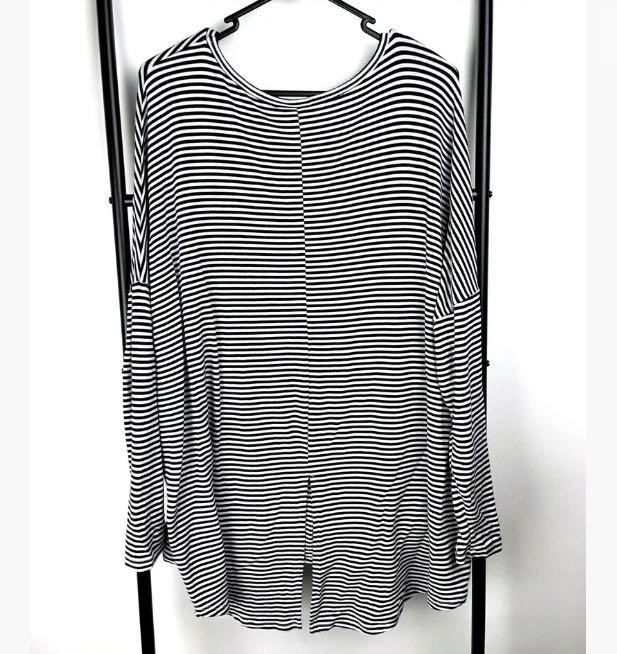 Seed Heritage sz L black white stripe top shirt blouse jumper sweater basic