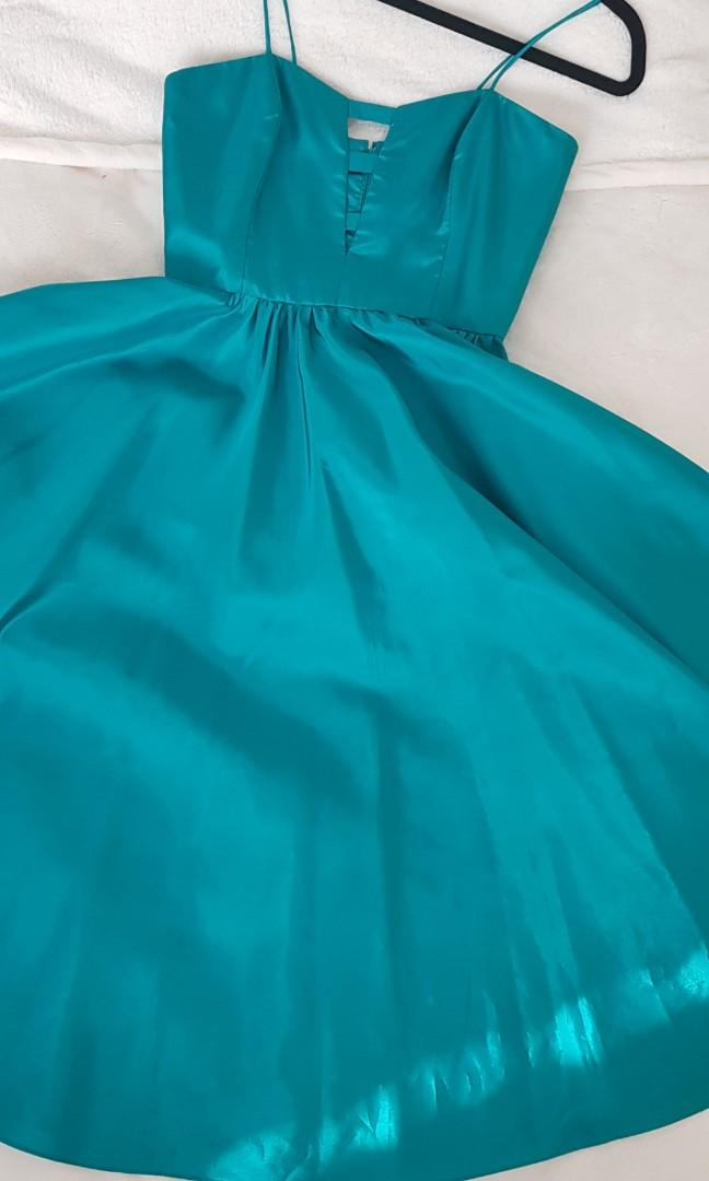 Vintage Kae Goulden full skirt evening dress - teal/blue-green