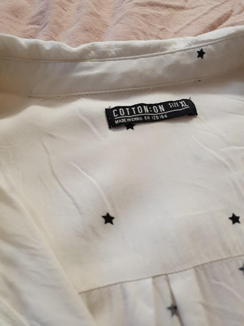 Size XL oversized Cotton On White blouse stars #swapAU