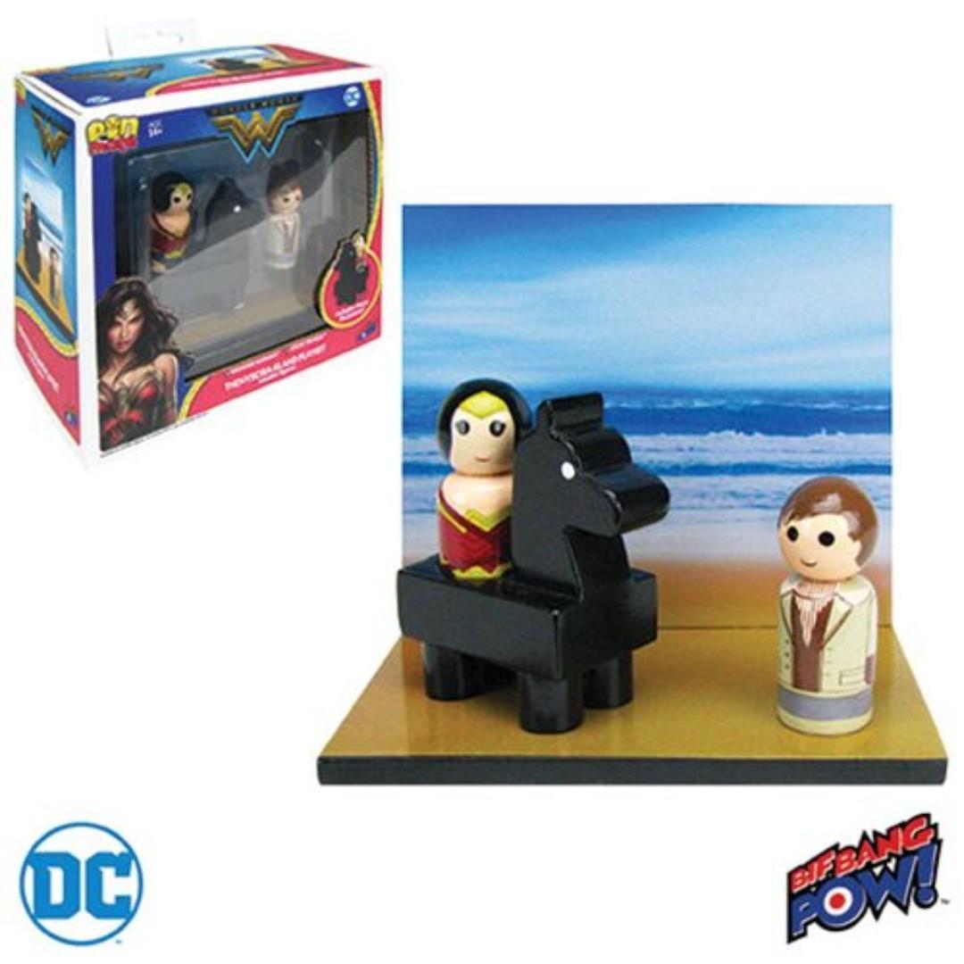 Wonder Woman Pin Mate Wood Themyscira Island Set With Wonder Woman & Steve Trevor DC Action Figure