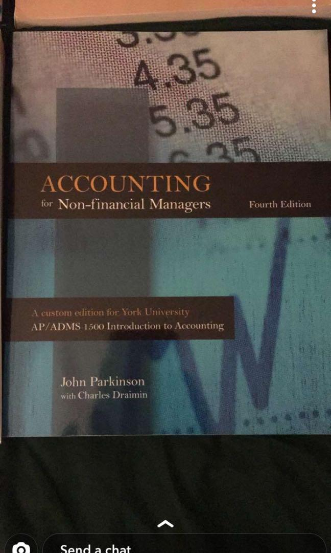 YORK U - ADMS 1500 - ACCOUNTING FOR NON-FINANCIAL MANAGERS