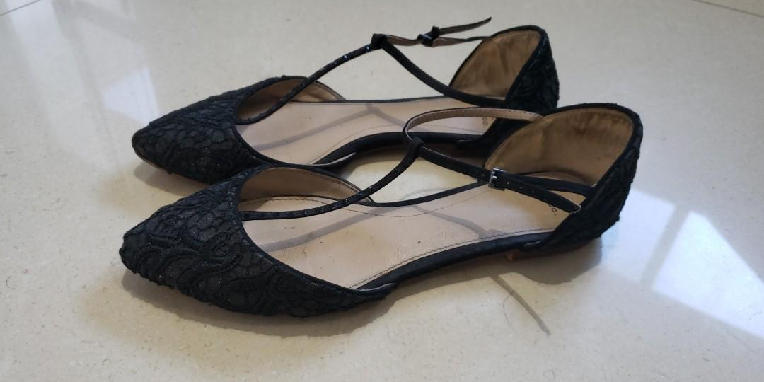 Zara T Strap Lace and Studs Black Flats with sparkling details