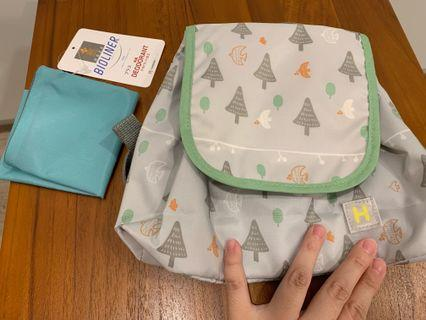 Hoppetta帆布小童包 灰底小樹圖案 六層紗蘑菇寶寶愛用