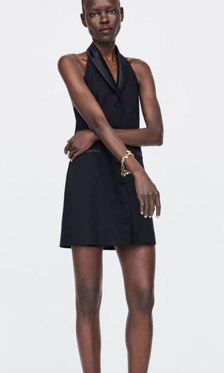zara拼接緞面西裝洋裝