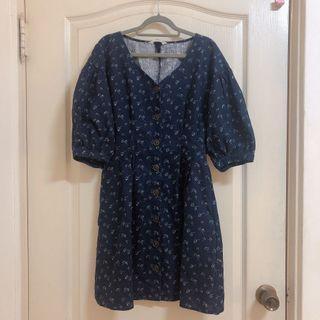 日本正品 Moussy深藍棉麻小碎花洋裝