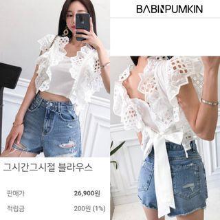 2019夏季新款韓版甜美風蕾絲燒花鏤空荷葉邊蝴蝶結綁帶短版上衣