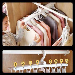 Multi-functional folding hanger for clothes 8 ranks set