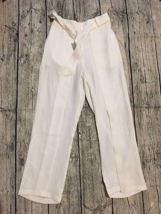 Meirq 雪紡純白皮帶西裝褲