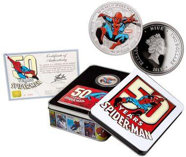 2013 Niue Marvel - 50 Years of Spider-Man 1 oz Silver Colorized Proof $2 GEM Proof (Original Government Packaging)