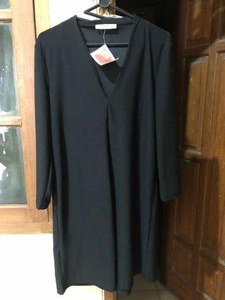 Mango - black dress ( dress hitam )
