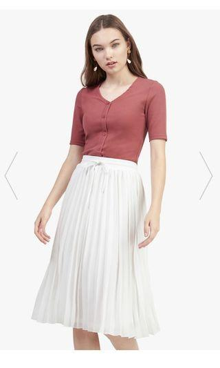 BNWT Fayth Raquel Pleated Midi Skirt in White