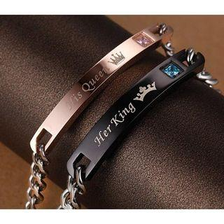 FASHION HOT SALE His Queen Her King Stainless Steel His and Hers Couple Bracelet bangle